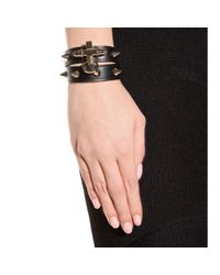 Givenchy | Black Obsedia Studded-Leather Wrap Bracelet | Lyst