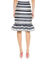 RED Valentino | Blue Striped Trumpet Skirt - Navy | Lyst