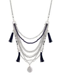 Lucky Brand | Metallic Silver-tone Tassel Multi-chain Necklace | Lyst