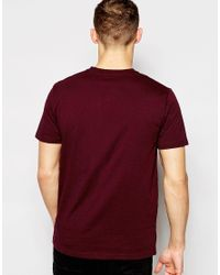 Stussy - Red T-shirt With V Neck In Mahogany Marl for Men - Lyst