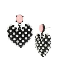 Betsey Johnson | Black-tone Faux Pearl Heart Earrings | Lyst