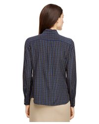 Brooks Brothers - Blue Silk Horsebit Printed Blouse - Lyst