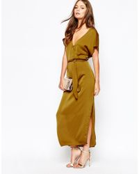 First & I | Metallic Gold Wrap Front Dress | Lyst