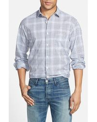 Billy Reid - Blue 'john T' Standard Fit Check Sport Shirt for Men - Lyst