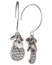 Anne Klein - Metallic Silver-tone Crystal Disc Drop Earrings - Lyst