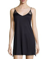 Hanro | Pink Constance Lace-inset V-neck Chemise | Lyst