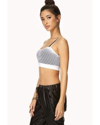 Forever 21 - White Show Off Netted Crop Top - Lyst