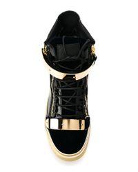 Giuseppe Zanotti - Blue Paneled High-Top Sneakers for Men - Lyst