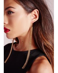 Missguided | Metallic Chain Tassel Earring Gold | Lyst