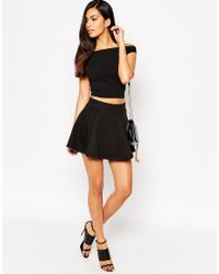 AX Paris | Black Quilted Skater Skirt | Lyst