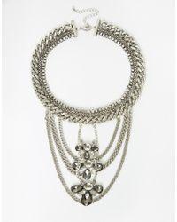 ASOS - Metallic Statement Chain Bib Necklace - Lyst