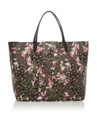 Givenchy | Black Antigona Shopping Bag in Floralprint Faux Leather | Lyst