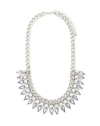 Forever 21 - Metallic Threaded Rhinestone Statement Necklace - Lyst