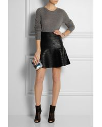 Hervé Léger - Black Fluted Coated Bandage Mini Skirt - Lyst