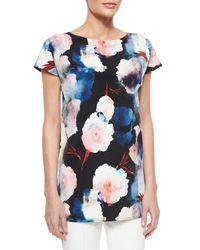 St. John - Multicolor Shadow Rose Print Stretch Silk Shirt - Lyst