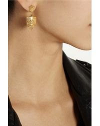 Harlot & Bones - Metallic Gold-Plated Shield Earrings - Lyst