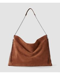 AllSaints - Brown Fleur De Lis Chain Shoulder Hobo - Lyst