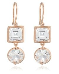 Dinny Hall | Pink Rose Gold Rock Crystal Finola Anniversary Earrings | Lyst
