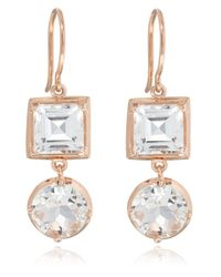 Dinny Hall - Pink Rose Gold Rock Crystal Finola Anniversary Earrings - Lyst