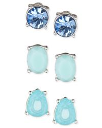 Nine West | Silver-tone Blue Crystal Stud Earring Set | Lyst