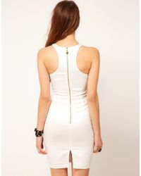 Lipsy - White Studded Fitted Dress - Lyst
