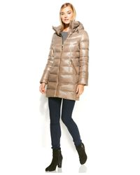 Calvin Klein | Brown Hooded Quilted Packable Down Puffer Coat | Lyst