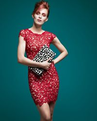 Alice + Olivia - Red Alice Olivia Clover Capsleeve Eyelet Dress - Lyst