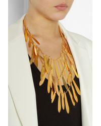 Herve Van Der Straeten - Metallic Tiered Hammered Goldplated Brass Necklace - Lyst