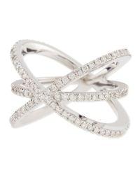 Roberto Coin - Metallic 18K White Gold Diamond Double-Crisscross Ring - Lyst