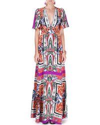 Etro - Purple Flutter-sleeve V-neck Pottery-print Gown - Lyst