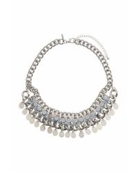 TOPSHOP - Gray Shell Drop And Facet Collar - Lyst