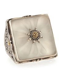 Konstantino | Metallic Square Flower Carved Frosted Crystal Ring | Lyst