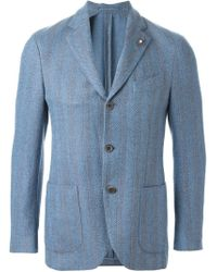Lardini - Blue Herringbone Pattern Blazer for Men - Lyst
