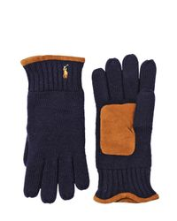 Polo Ralph Lauren - Blue Merino Wool & Suede Gloves - Lyst