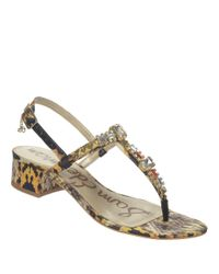 Sam Edelman | Yellow Annalise Snakeskin Printed Sandals | Lyst