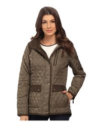 Vince Camuto - Green Quilted Jacket With Wool Trim J1501 - Lyst