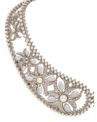 Alexander McQueen | Metallic Pearl Brass Collar Necklace | Lyst
