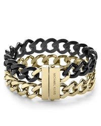 Michael Kors | Metallic Two Tone Curb Chain Bracelet | Lyst