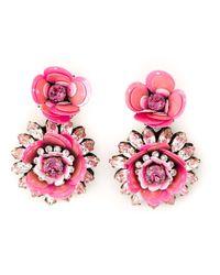 Shourouk   Pink Flower Clip-on Earrings   Lyst