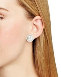 Pink Pony | Metallic Lauren Imitation-pearl Stud Earrings, 16mm | Lyst