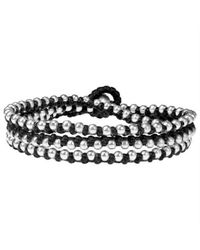 Aeravida | Triple Wrap Mini Silver Beads Single Strand Black Cotton Rope Bracelet | Lyst