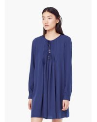 Mango | Blue Pleated Panel Dress | Lyst