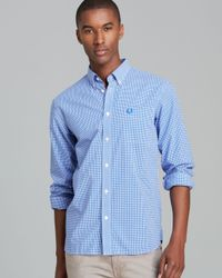 Fred Perry - Blue Gingham Check Button Down Shirt - Regular Fit for Men - Lyst