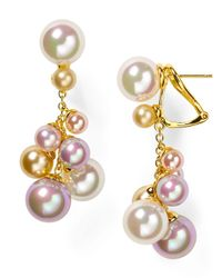 Majorica - White Multicolored Round Organic Manmade Pearl Earrings - Lyst