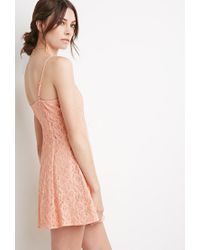 Forever 21 | Pink Crochet Lace Cami Dress | Lyst