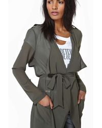 Nasty Gal - Gray Sheer Desire Trench Cardi Olive - Lyst