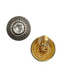 Amrapali - Metallic Natural Cut Diamond Triple Halo Stud Earrings - Lyst