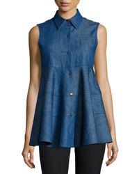 Co. - Blue Sleeveless Spread-llar Denim Top - Lyst