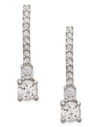 Macy's | Metallic White Sapphire Drop Earrings In 14k White Gold (1 Ct. T.w.) | Lyst