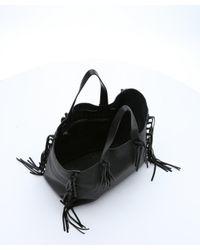 Valentino - Black Leather Large Fringe Tote - Lyst